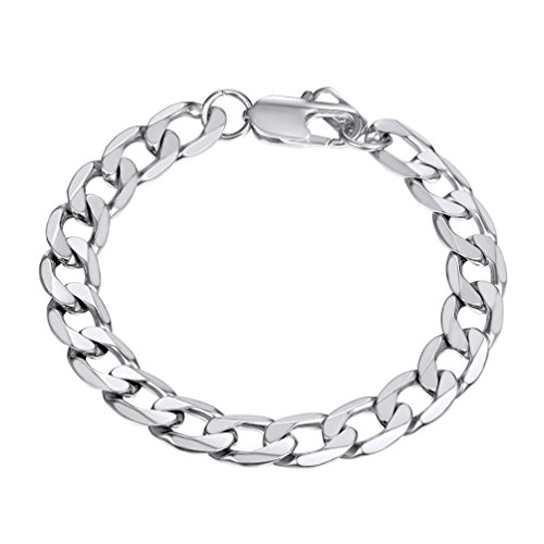 PROSTEEL Stainless Steel Bracelet for Women 21CM Men Hand Curb Chain Silver Color Armband Jewelry