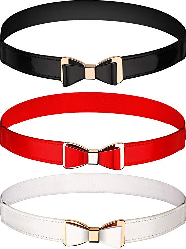 3 Pieces Women Skinny Waist Belt Thin Stretchy Bow Belt for Dress, 3 Colors (Set 1)