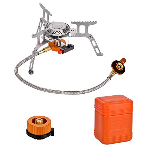 Queta Camping Stove with Piezo Ignition Portable Camping Gas stove Gas Cooking Burner with Carrying Case for Camping Picnic