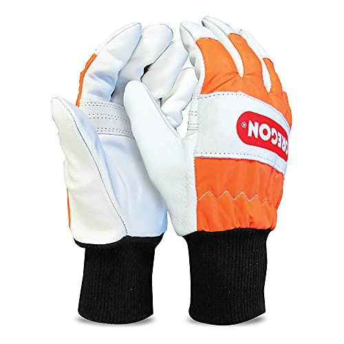 OREGON Chainsaw Left-Hand Protection Leather Gloves – Large (Size 10) (91305L)