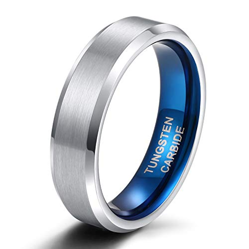 Men's and Women's Tungsten Brushed Silver and Blue Engagement Rings Wedding Rings Wedding Rings 4 mm 6 mm 8 mm Size 47 to 72 6 mm