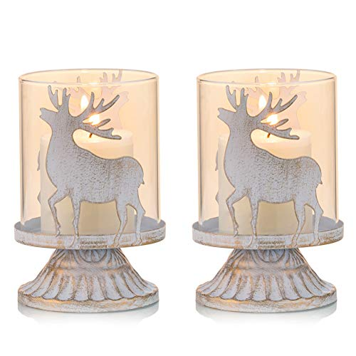 Sziqiqi Vintage Antique Metal Pillar Candle Holders Set of 2, Distressed Hurricane Candlestick Candle Holders Prefer Centerpieces for Christmas Table Mantle Fireplace Decoration, Deer
