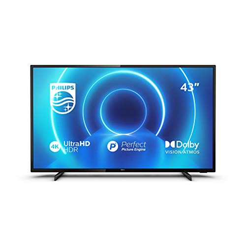 Philips 43PUS7505/12 43-Inch TV (4K UHD TV, P5 Perfect Picture Engine, HDR 10+ Supported, Smart TV, Dolby Vision, Dolby Atmos, Freeview Play, 3 x HDMI, 2 x USB) - Glossy Black (2020/2021 Model)
