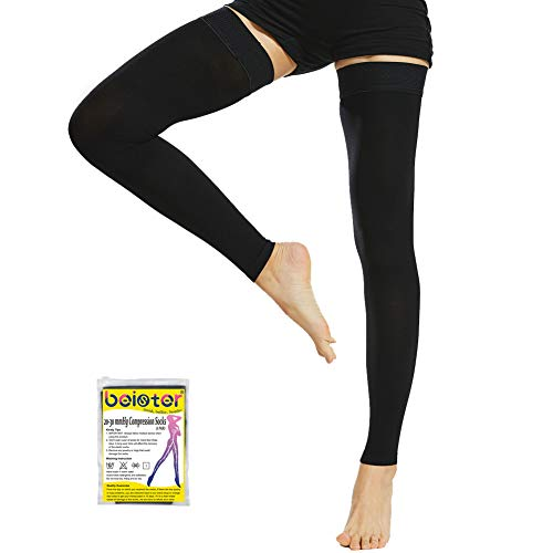 Beister Medical Thigh High Footless Compression Stockings with Silicone Band for Women & Men, Firm 20-30 mmHg Graduated Support for Varicose Veins, Edema, Flight