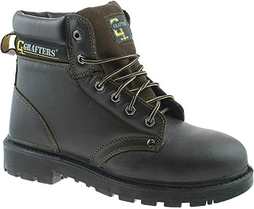 Unisex Brown Leather 6 Eye Safety Boot - Apprentice - Brown - size UK Mens Size 10