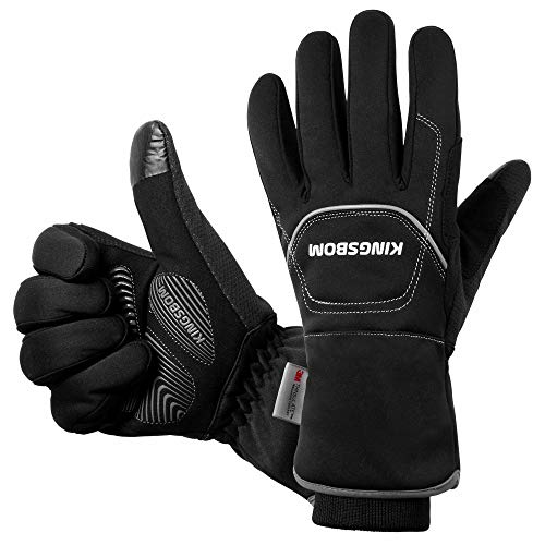 KINGSBOM -40℉ Waterproof & Windproof Thermal Gloves - 3M Thinsulate Winter Touch Screen Warm Gloves - For Cycling,Riding,Running,Outdoor Sports - For Women and Men - Black (Large)
