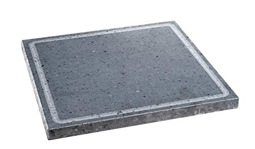 Etna Stone & Design Lava Grill Etna Smooth Lava Stone Grilling Plate for Oven and Barbecue for Cooking Meat, Fish, Vegetables and Pizza, 30 x 30 cm (S)