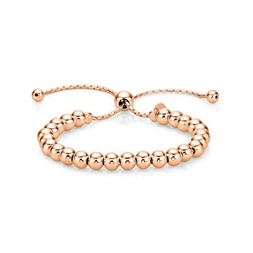 Diamond Treats Ladies Rose Gold Bracelet, Rose Gold Plated 925 STERLING SILVER Fashionable Italian Design Ball Bracelet. This Fully Adjustable Size Bracelet is the Perfect Jewellery Gift for Women.