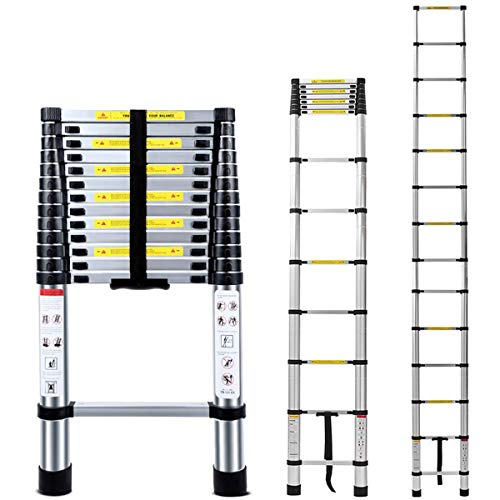 Jason Telescopic Ladder 13.5FT | 4.1M High Quality Max Load 330lbs ,Multi-Purpose Aluminum Telescopic Ladders Extendable Ladder with EN131 and CE Standard(13.5FT/4.1M))