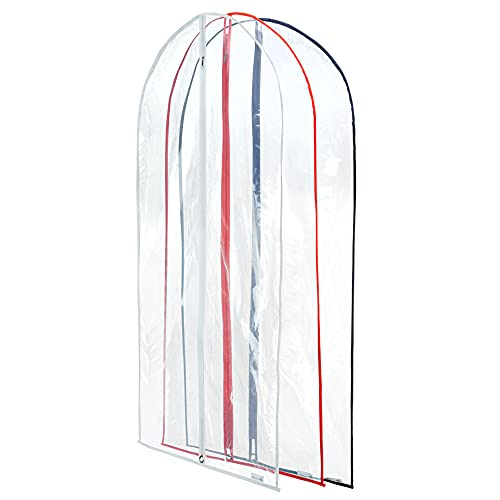 Hangerworld Pack of 6 Clear Suit / Garment Clothes Cover Bags with Mixed Trim Colours - 40