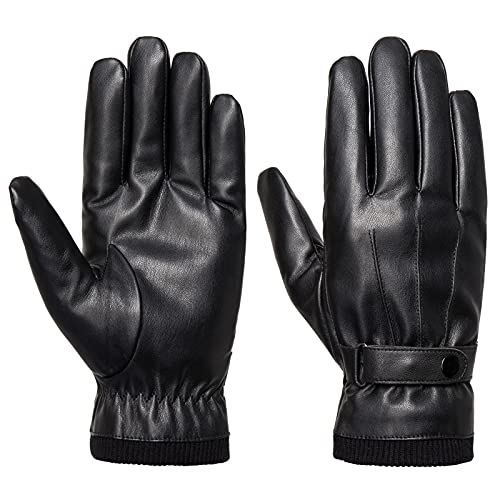 Men's Winter Gloves - Acdyion Faux Leather Touchscreen Casual Outdoor Gloves with Soft Warm Thermal Lining for Dress, Driving
