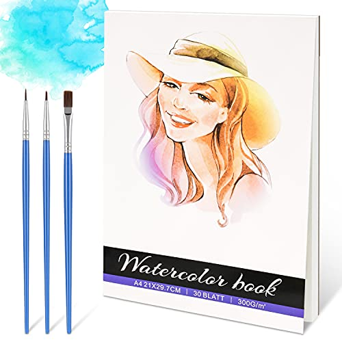 Watercolour Pad, 30 Sheets Watercolour Paper 300gsm Paper A4 Watercolor Book Acid Free Cold Pressed Paper for Watercolour and Mixed Media Painting, White