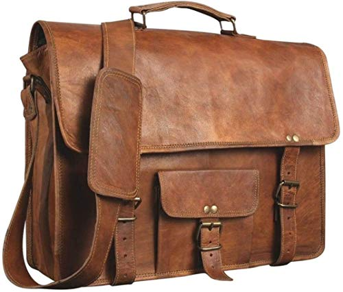 Alaska exports Leather Laptop Bag | Leather Messenger for Men and Women | Briefcases for Men | A Perfect Satchel can be Used for School and Work (12 x 17 inch)
