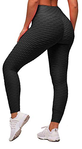 Memoryee Women's Honeycomb Waffle Leggings Ruched Butt Lift High Waisted Yoga Pants Chic Sport Tummy Control Gym Running Tights/Black/M
