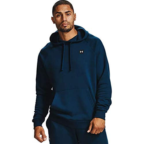 Under Armour Men's Rival Fleece Running Hoodie with Loose fit, Comfortable and Warm Hooded Jumper, Academy/Onyx White, L