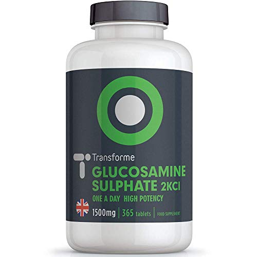 Glucosamine Sulphate 2KCl 1500mg 365 Tablets, 1 Year Supply, Vegan & Vegetarian High Strength, Premium Quality Glucosamine, UK Made, Gluten Free, by Transforme