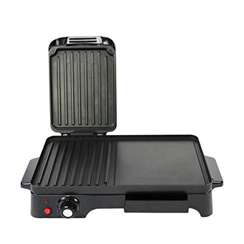 Schallen Electic Black Table Top 2 in 1 Versatile Adjustable Temperature Grill Griddle and Hot Plate Cooking Grilling Machine