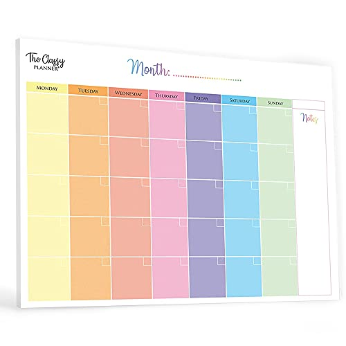 Monthly Planner Pad with 50 Tear Off Pages Notes Section, Undated Calendar Personal Desktop Organiser, for Work, School, Meal, and Fitness Planning, Colourful FBA, A4 (8.3 x 11.7in)
