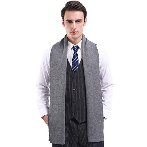 Winter Mens Scarf Wool Cashmere Feel Warm Australian Wool Long Knit Scarves for Men with Gift Box (Grey)