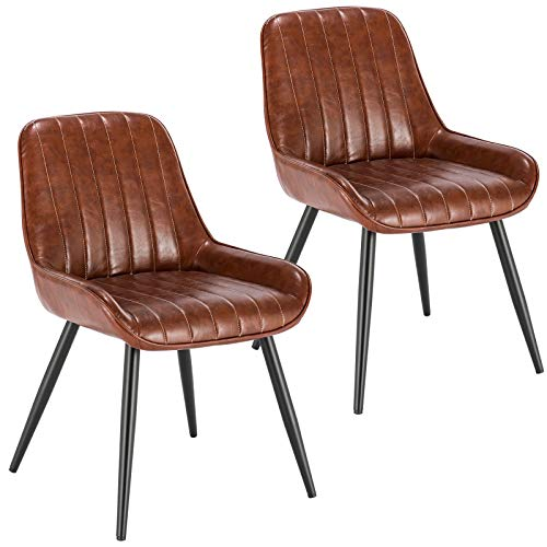 Lestarain Dining Chairs Set of 2 Vintage Kitchen Counter Chairs Lounge Leisure Living Room Corner Chairs With Metal Legs PU Leather Seat and Backrests,Brown