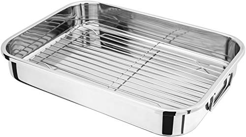 Rohi Universal Oven Cooker Grill Pan Tray Complete with Steel Wire Rack Handles, Suitable for Most Oven Cookers (Small, 25cm x 20cm)