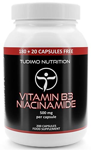 Vitamin B3 Niacinamide Supplement 500mg Flush Free Capsules - 200 High Strength Caps (6+ Month Supply), Each with 500 mg of Pure VIT B3 Nicotinamide 500mg Powder