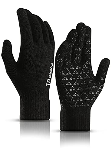 TRENDOUX Gloves Women, Thermal Touch Screen Glove Men - Typing Smartphone Driving Working - Anti-slip Grip - Warm Wool Liners - Soft Stretchy Material - Winter Windproof Dog Walking - Black - M