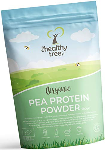 Organic Pea Protein Powder by TheHealthyTree Company - European 80% + Vegan Protein, High in Amino Acids, Iron, Zinc and BCAAs (600g)