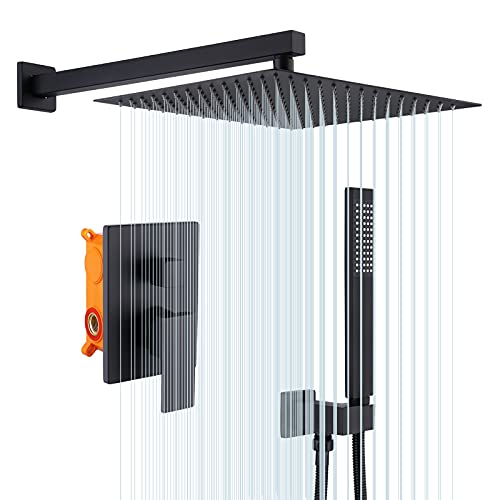 KES Black Shower Set 3-Function Concealed Shower System for Bathroom Wall Mounted 12-Inch Shower Head with Handheld Including Rough-in Valve Body and Trim Kit Square, X6230S12-BK