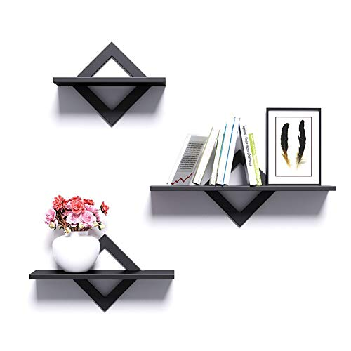 piorlado Floating Shelf Wall Mounted Shelves, Black Wall Shelves Set of 3 Modern Decorative Display Storage Shelves with Invisible Mounting for Bathroom, Bedroom, Office, Living Room, Kitchen,etc