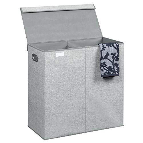mDesign Laundry Bin - Designer Laundry Basket for Bathroom or Bedroom - Also Suitable as Kids Laundry Bin - Foldable with Herringbone Pattern and Two Compartments - Grey