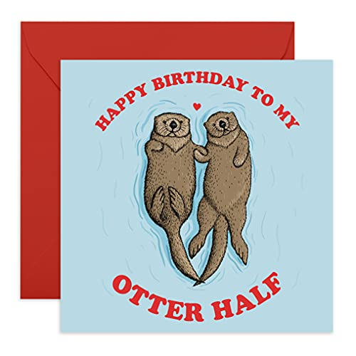 Central 23 - Funny Birthday Card - 'Happy Birthday To My Otter Half' - Birthday Card for Husband Wife Boyfriend or Girlfriend - Comes With Fun Stickers