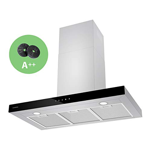 CIARRA CBCS9102 Class A++ Touch Control Linear Chimney Cooker Hood 90cm 650 m³/h with Carbon Filters Recirculating Ducting Ventilation Vent Hood Kitchen Extractor Fan