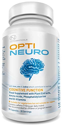 Optineuro® with Pantothenic Acid contributes to Mental Performance Backed by Science | Premium Nootropic Stack with Guarana, L-Theanine, Choline, Ginseng, Bacopa, Gingko Biloba, Tyrosine, Phosphatidylserine (PS), Coenzyme Q10, B12 (Methylcobalamin) | 90 Capsules