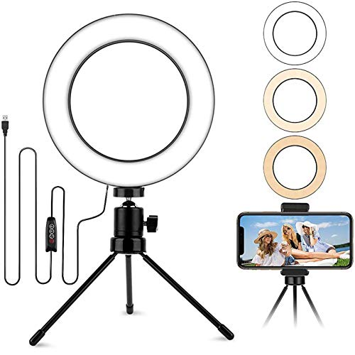 6.2'' Table Selfie Ring Light with Stand, Mini Desktop LED Lamp with Dimmable 3 Modes 10 Brightness Level for Makeup YouTube Video Photography, Extra Phone Holder Compatible with Smartphone