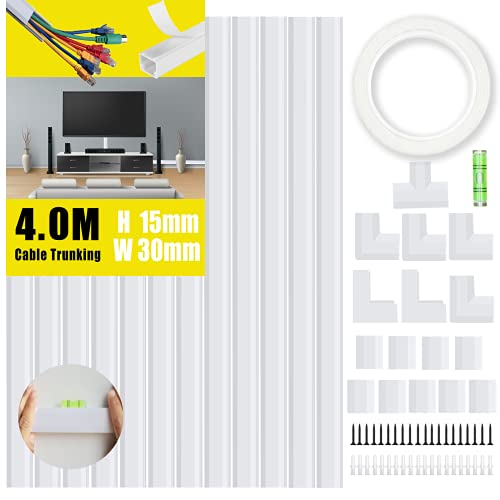 KOOLPUG Cable Tidy White Tubes, Longer Cable Channel, Self Adhesive Wire Trunking Kit, Wire Tidy for Wall, White Trunking for TV Cables, Perfect Cable Management Trunking for Under Desk Office (4.0m)