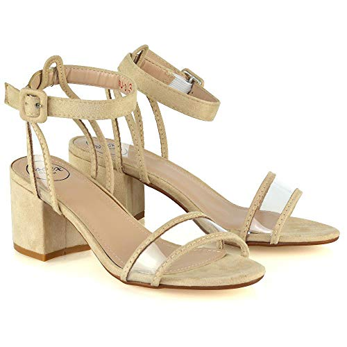 ESSEX GLAM Womens Ankle Strap Sandals Mid Heel Ladies Perspex Peep Toe Party Shoes Size 3-8