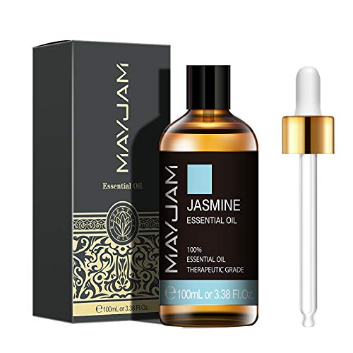 MAYJAM Jasmine Essential Oils 100ml, 100% Pure Natural Essential Oils, Therapeutic-Grade Aromatherapy Essential Oil, Fragrance Oils for Diffuser, Humidifier, Relax, Sleep, Perfect Gifts