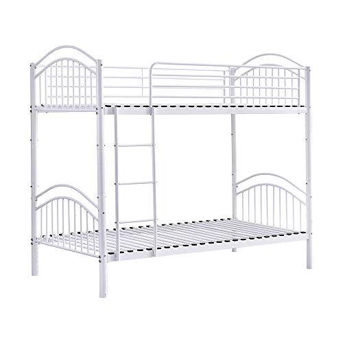Huisen Furniture White Single Bunk Bed with Ladder High Sleeper Bed Cot Frame 3FT Detachable Metal Day Bed Bedstead for Twin Bedroom Single Bed Frame for Kids Teens Adult Dormitory (White)