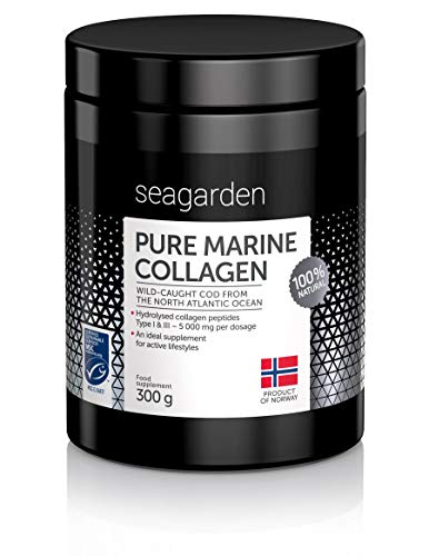 Norwegian Pure Marine Collagen Powder I Wild-Caught Fish from North Atlantic Ocean I 2-Months Supply I Hydrolysate Peptides   Supplement for Skin, Hair, Nails, Tendons, Ligaments  100% Natural I 300 g