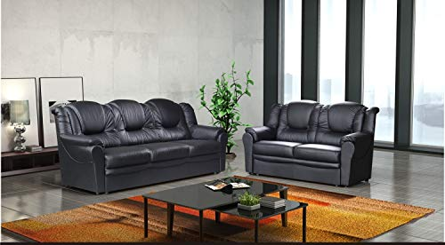 3 2 Seater Sofa Set Living Room Suite Faux Leather Black Foam Seats High Back Settee Large Couch