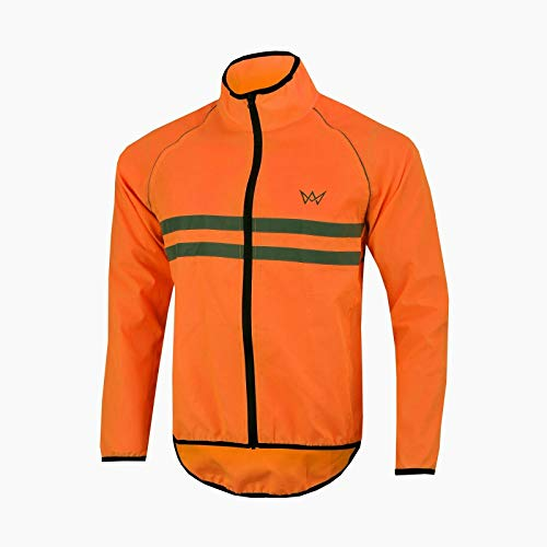 APEXWEAR Mens Cycling Jacket High Visibility Waterproof Running Top Rain Coat S to 2XL (ORNAGE, LARGE)