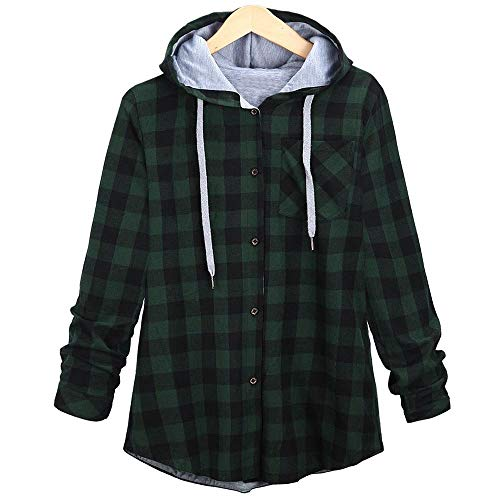 TOPKEAL Coat Women Plaid Hooded Cardigan Shirt Button Sports Casual Cotton Blouse Warm Slim Lapel Long Sleeve Jacket Outerwea Ladies Young Fashion 2018 Red Black Blue Gray (M, Green)