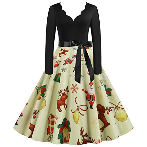 MOTOCO Vintage Christmas Dresses for Women Retro Floral Plus Size Prom Wedding Evening Party Bridesmaid Cocktai Jersey Knee Long Dress(3XL,Yellow)