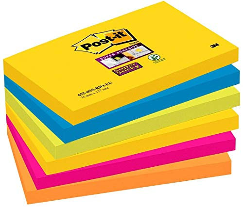 Post-it Notes, Super Sticky Notes Pad, Coloured Notes Rio Collection, Memo Note Pad for Notes Taking and To Do List, 6 Pads of 90 Sheets, Post it Note Large 76 x 127 mm