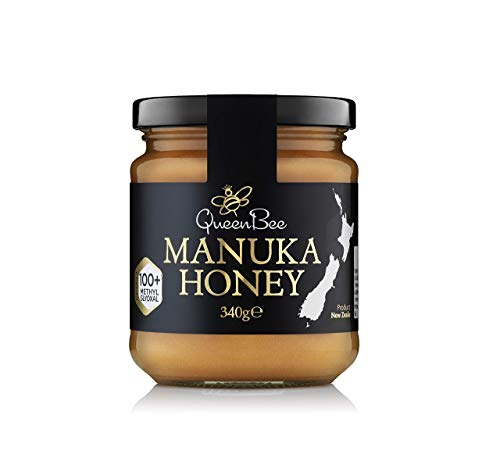 All-Natural Manuka Honey – Genuine Monofloral Manuka Honey (100+) 340g from New Zealand – Contains Minimum of 100mg/kg MGO for Healing Properties – Queen Bee Manuka