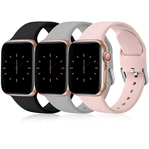 Wepro Pack 3 Straps Compatible with Apple Watch Strap 44mm 40mm 38mm 42mm 45mm 41mm, Soft Silicone Strap Compatible with iWatch Series 7 6 5 4 3 SE, 38mm/40mm/41mm-S, Black/Grey/Pink