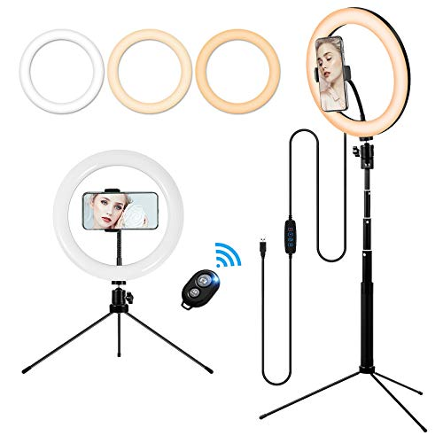 10'' Makeup Ring Light with Tripod Stand and Phone Holder, Portable Desktop Floor LED Circle Lamp with 3 Colors 10 Brightness for YouTube Video Selfie, Wireless Remote Compatible with Smartphone
