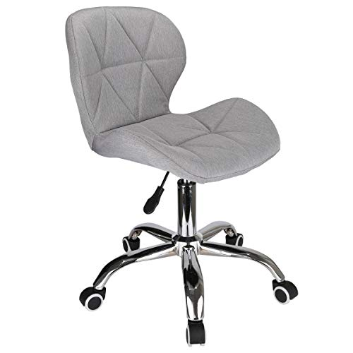 Queiting Office Chair Desk Chair for Home Adjustable Height Swivel Chair Cushioned Comfy Padded Computer Chair Home/Office Furniture with Chrome Legs Wheels and Lift New Designed Grey