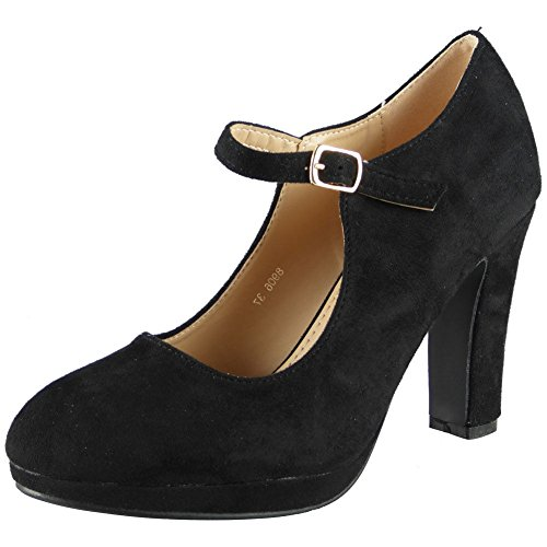 Womens Mary Jane Court Plarform Shoes Ladies Suede Party Buckle High Heel Size 6 Black